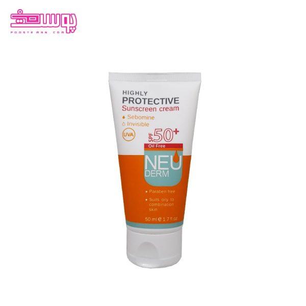 ضد آفتاب بی رنگ نئودرم مناسب پوست چرب SPF 50 حجم 50ml