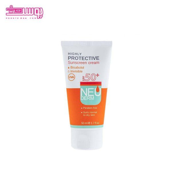 ضد آفتاب بی رنگ نئودرم مناسب پوست خشک SPF 50
